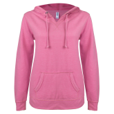 ENZA Ladies Hot Pink V Notch Raw Edge Fleece Hoodie-Select-A-Logo