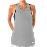 Ladies Under Armour Grey Pinhole Tank-Select-A-Logo