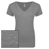 ENZA Ladies Graphite Melange V Neck Tee-Select-A-Logo