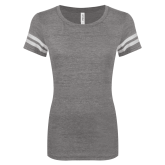 ENZA Ladies Dark Heather/White Vintage Triblend Football Tee-Select-A-Logo