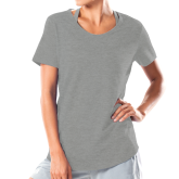 Ladies Under Armour Grey Charged Cotton Tee-Select-A-Logo