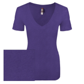 Next Level Ladies Vintage Purple Tri Blend V Neck Tee-Select-A-Logo