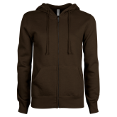 ENZA Ladies Brown Fleece Full Zip Hoodie-Select-A-Logo