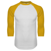 White/Gold Raglan Baseball T Shirt-Select-A-Logo