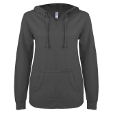 ENZA Ladies Dark Heather V Notch Raw Edge Fleece Hoodie-Select-A-Logo