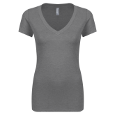Next Level Ladies Vintage Grey Tri Blend V Neck Tee-Select-A-Logo