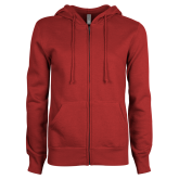 ENZA Ladies Cardinal Fleece Full Zip Hoodie-Select-A-Logo