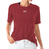 Ladies Under Armour Heather Cardinal Triblend Tee-Select-A-Logo