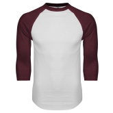 White/Maroon Raglan Baseball T Shirt-Select a Department