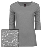 Ladies Grey Heather Tri Blend Lace 3/4 Sleeve Tee-Select-A-Logo