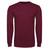 Maroon Long Sleeve T Shirt-Select-A-Logo