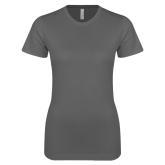 Ladies SoftStyle Junior Fitted Charcoal Tee-Select an Academics Logo