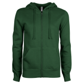 ENZA Ladies Dark Green Fleece Full Zip Hoodie-Select-A-Logo