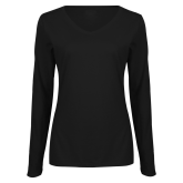 Ladies Black Long Sleeve V Neck Tee-Motto Logos