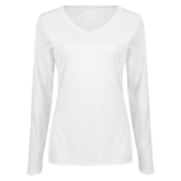 Ladies White Long Sleeve V Neck Tee-Motto Logos