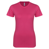 Ladies SoftStyle Junior Fitted Fuchsia Tee-Select-A-Logo