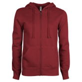 ENZA Ladies Maroon Fleece Full Zip Hoodie-Select-A-Logo