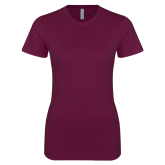 Next Level Ladies SoftStyle Junior Fitted Maroon Tee-Motto Logos