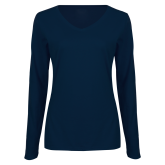 Ladies Navy Long Sleeve V Neck T Shirt-Select-A-Logo