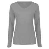 Ladies Grey Long Sleeve V Neck T Shirt-Select-A-Logo