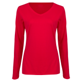 Ladies Red Long Sleeve V Neck T Shirt-Select-A-Logo