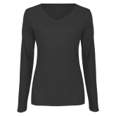 Ladies Dark Heather Long Sleeve V Neck Tee-Select-A-Logo