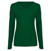 Ladies Dark Green Long Sleeve V Neck Tee-Select-A-Logo