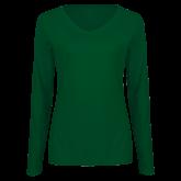 Ladies Dark Green Long Sleeve V Neck T Shirt-Select-A-Logo
