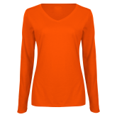 Ladies Orange Long Sleeve V Neck Tee-Select-A-Logo