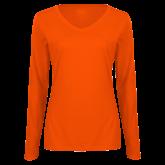 Ladies Orange Long Sleeve V Neck T Shirt-Select-A-Logo