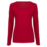 Ladies Cardinal Long Sleeve V Neck T Shirt-Select-A-Logo