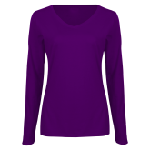 Ladies Purple Long Sleeve V Neck Tee-Select-A-Logo