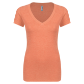 Next Level Ladies Vintage Orange Tri Blend V Neck Tee-Select-A-Logo