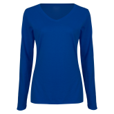 Ladies Royal Long Sleeve V Neck Tee-Select-A-Logo
