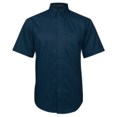 Navy Twill Button Down Short Sleeve-Select-A-Logo
