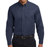 Navy Twill Button Down Long Sleeve-Select A Varsity Sport