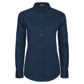 Ladies Navy Twill Button Down Long Sleeve-Select-A-Logo
