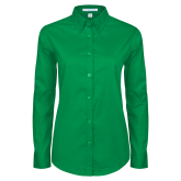 Ladies Kelly Green Twill Button Down Long Sleeve-Select-A-Logo