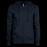 ENZA Ladies Navy Fleece Full Zip Hoodie-Select-A-Logo