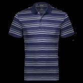 Adidas Climalite Navy Textured Stripe Polo-Select-A-Logo