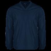 V Neck Navy Raglan Windshirt-Select-A-Logo