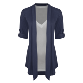 Ladies Navy Drape Front Cardigan-Select-A-Logo