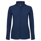 Ladies Fleece Full Zip Navy Jacket-Select-A-Logo