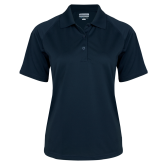 Ladies Navy Textured Saddle Shoulder Polo-Select-A-Logo