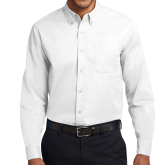White Twill Button Down Long Sleeve-Select-A-Logo
