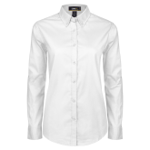 Ladies White Twill Button Down Long Sleeve-Select-A-Logo