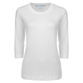 Ladies White 3/4 Sleeve Scoop Neck-Select-A-Logo