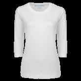 Ladies White 3/4 Sleeve Scoop Neck-Select-A-Logo