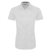 Ladies White Twill Button Up Short Sleeve-Select-A-Logo