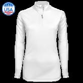 Ladies Syntrel Interlock White 1/4 Zip-Select-A-Logo